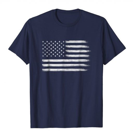 White Grunge American Flag Shirt Cool USA Patriotic 4th of July Tee