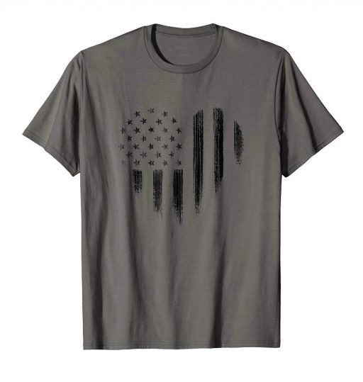 Black USA Flag Heart Shirt Distressed American Patriotic 4th of July Tee