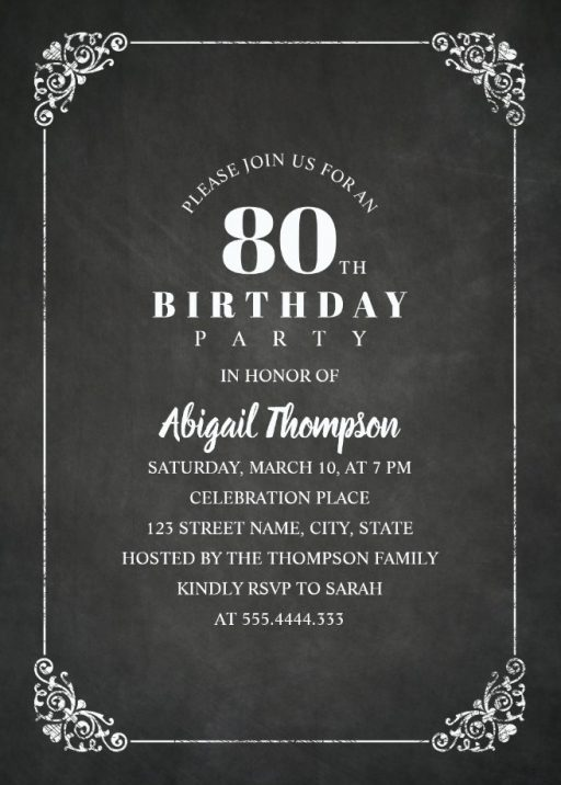 Chalkboard Adult 80th Birthday Party Invitations - Vintage Classic Templates
