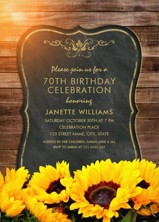 Chalkboard Sunflower 70th Birthday Invitations - Rustic Wood Invites
