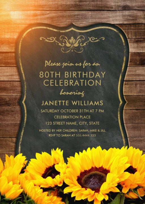 Chalkboard Sunflower 80th Birthday Invitations - Rustic Wood Invites