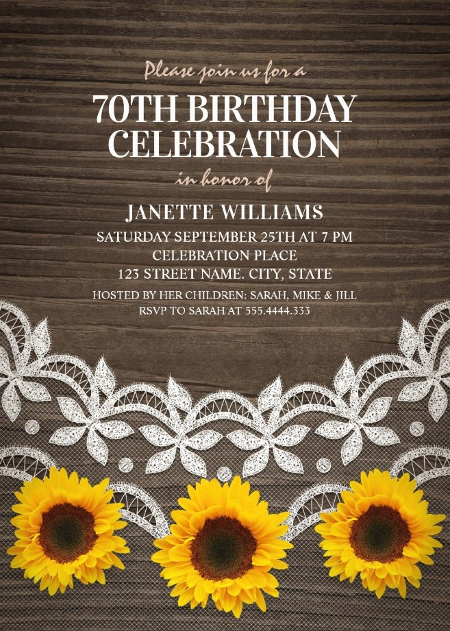 Country Lace Sunflower 70th Birthday Invitations
