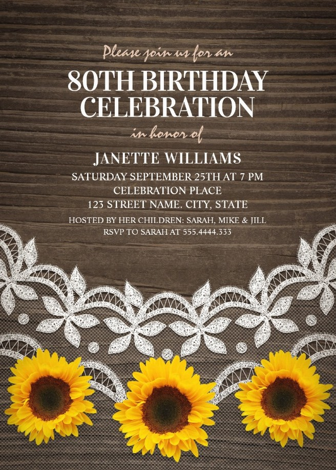 Country Lace Sunflower 80th Birthday Invitations - Rustic Wood Invites