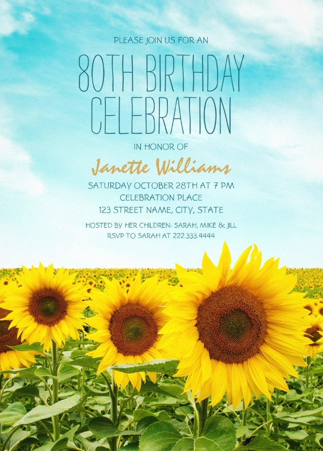 Country Sunflower Field 80th Birthday Invitations Personalized Templates