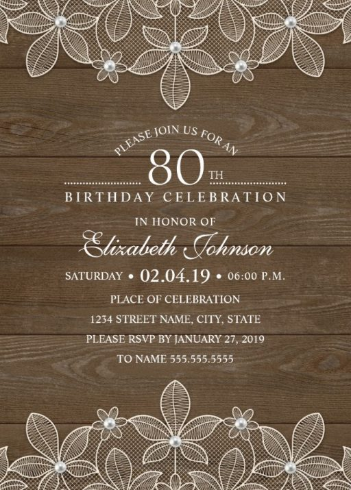 Country Wood 80th Birthday Invitations
