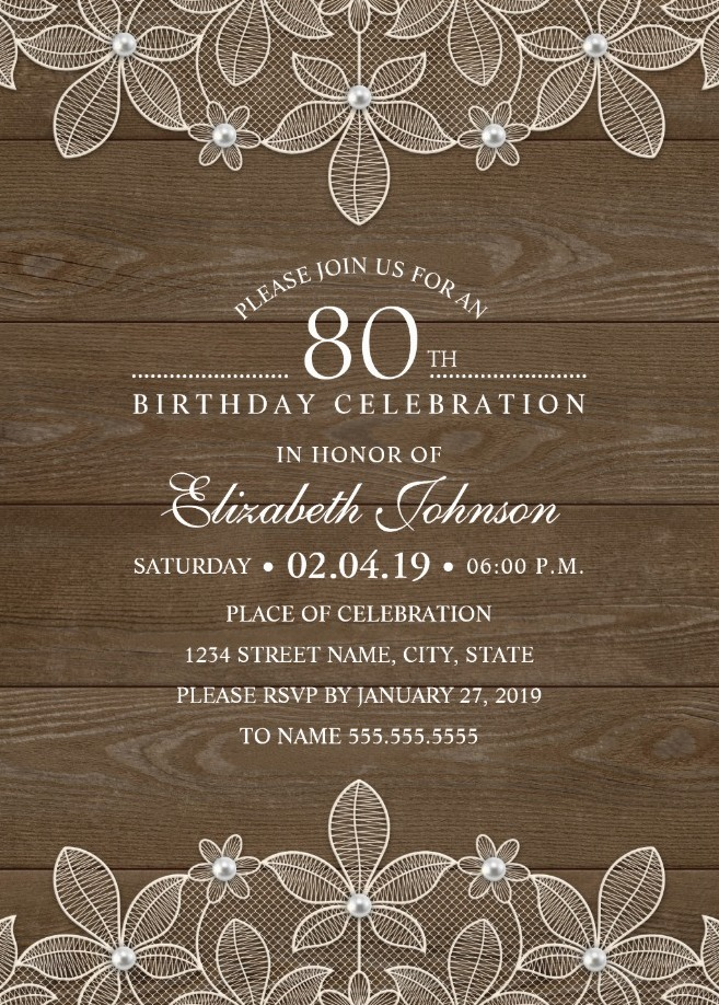 Country Wood 80th Birthday Invitations - Lace and Pearls Party Cards