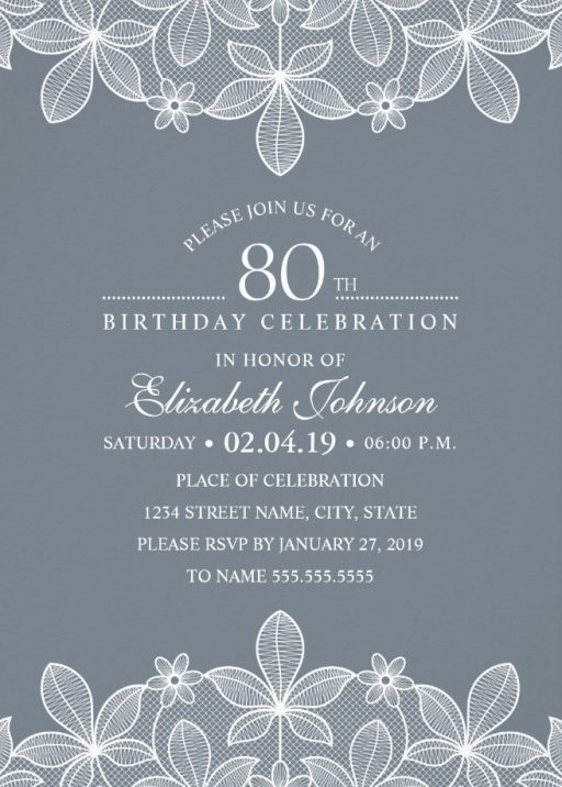 Elegant Lace 80th Birthday Invitations - Creative Luxury Cards