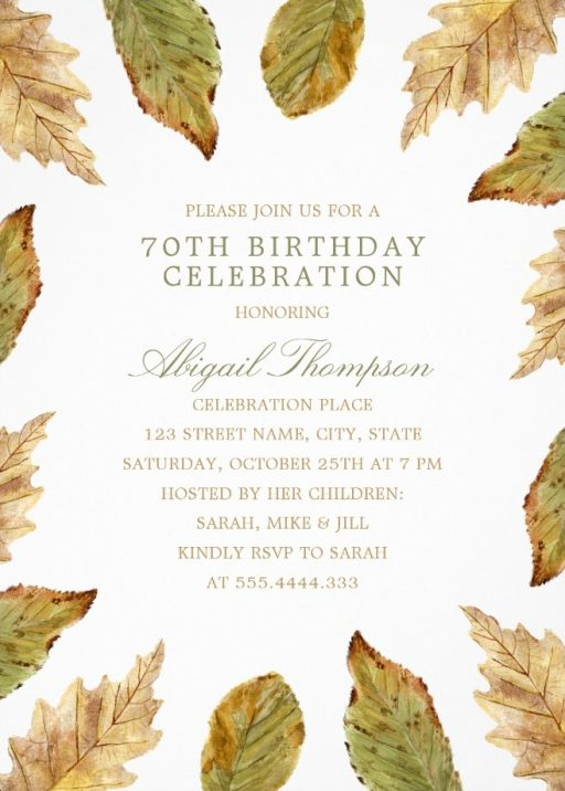 Fall Leaves 70th Birthday Invitations - Watercolor Frame Templates