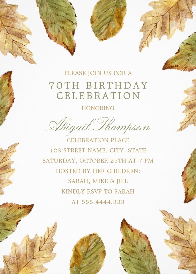 Fall Leaves 70th Birthday Invitations