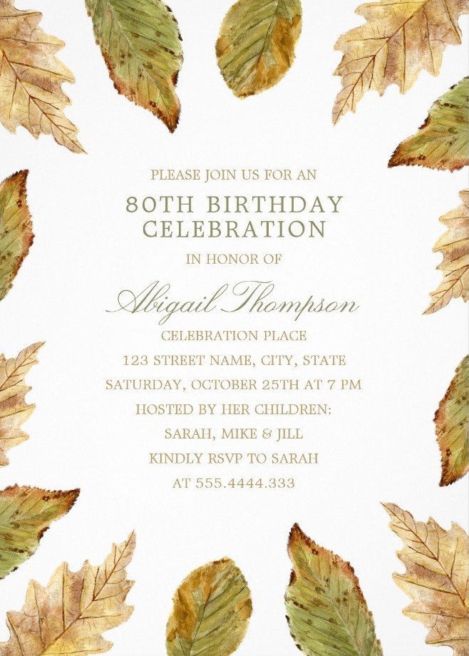 Fall Leaves 80th Birthday Invitations - Watercolor Frame Templates