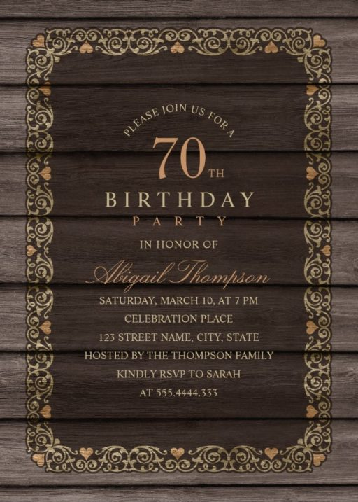 Fancy Wood 70th Birthday Invitations - Rustic Country Invitation Templates