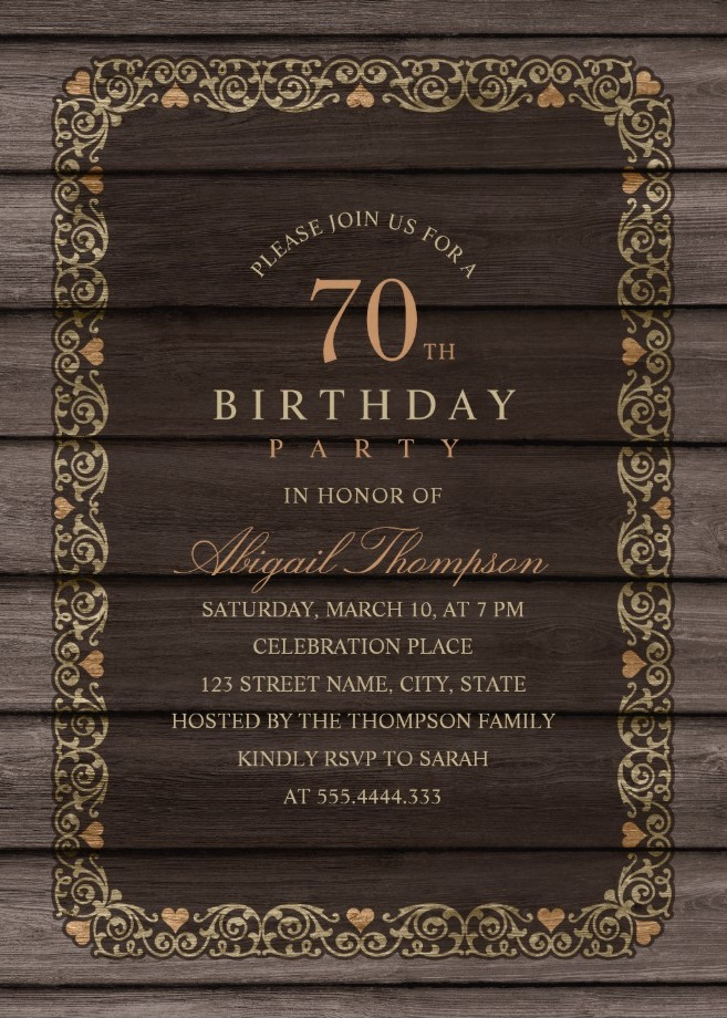 fancy wood 70th birthday invitations rustic country. Black Bedroom Furniture Sets. Home Design Ideas