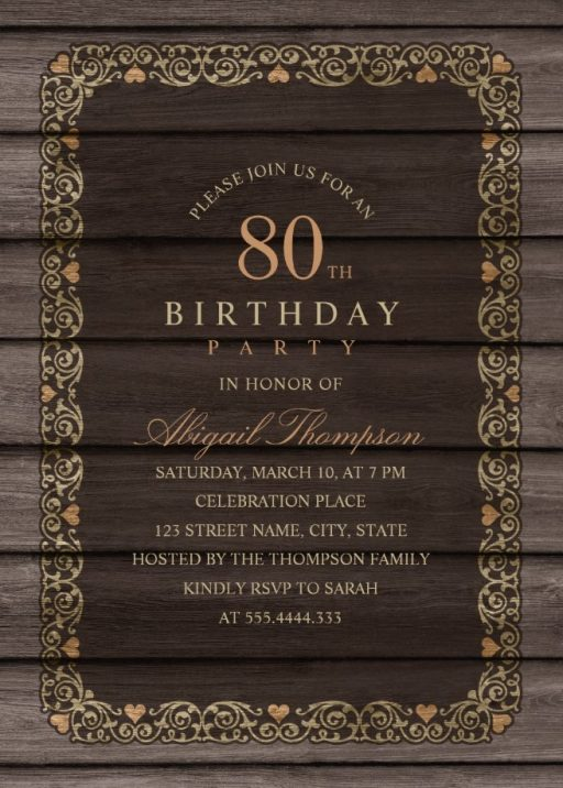 Fancy Wood 80th Birthday Invitations - Rustic Country Invitation Templates