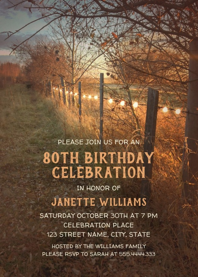 Farm Fence Fall 80th Birthday Invitations Country String Light