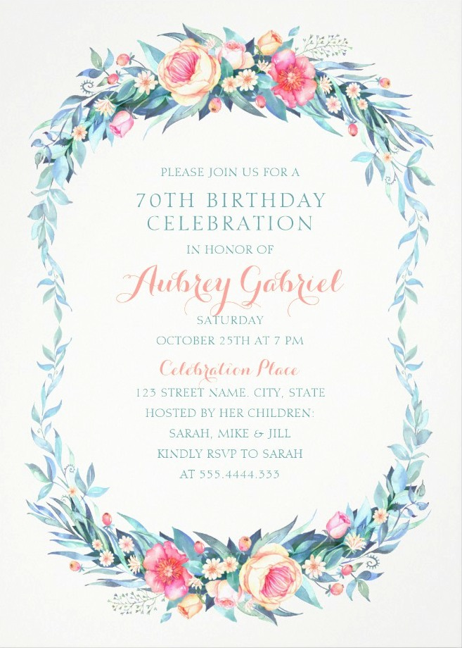 Floral Adult 70th Birthday Invitations