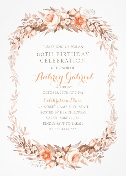 Floral Adult 80th Birthday Invitations - Elegant Fall Flowers Invitation Templates