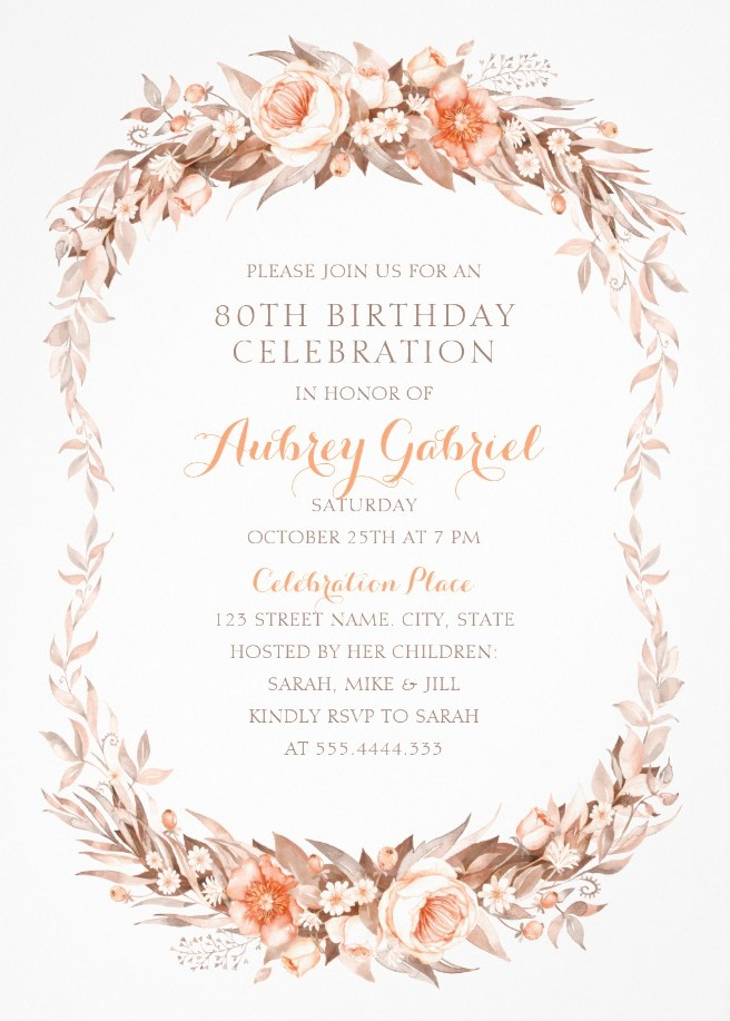 Floral Adult 80th Birthday Invitations