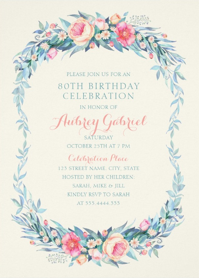 Floral Adult 80th Birthday Invitations - Elegant Spring Flowers