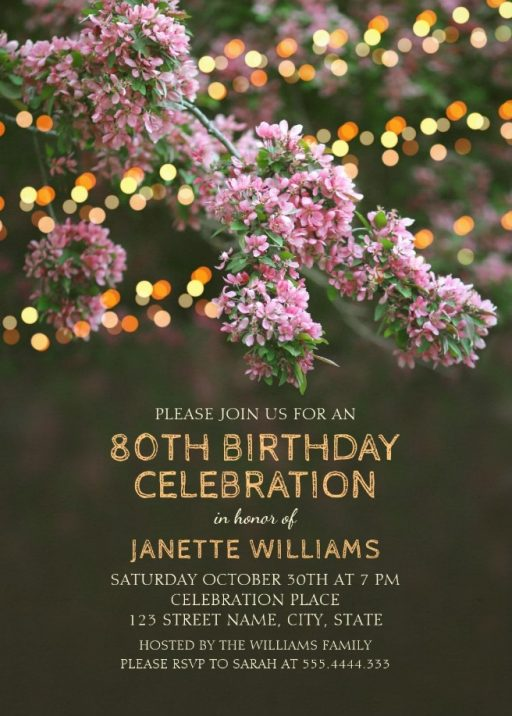 Garden Lights 80th Birthday Invitations