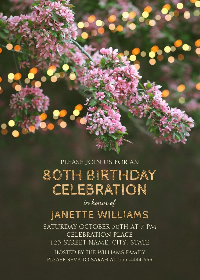Garden Lights 80th Birthday Invitations - Tree Blossom Outdoor Party Invites