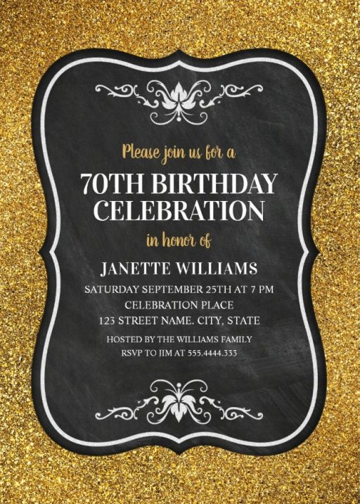 Glitter Adult 70th Birthday Party Invitations