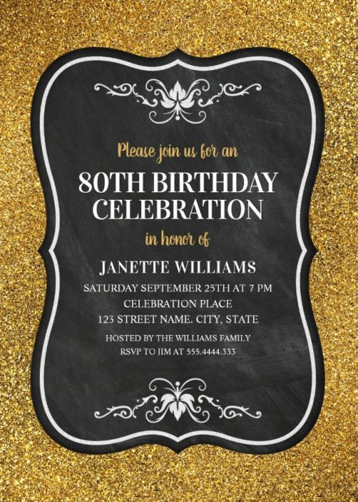 Glitter Adult 80th Birthday Party Invitations - Chalkboard Gold Invitation Templates