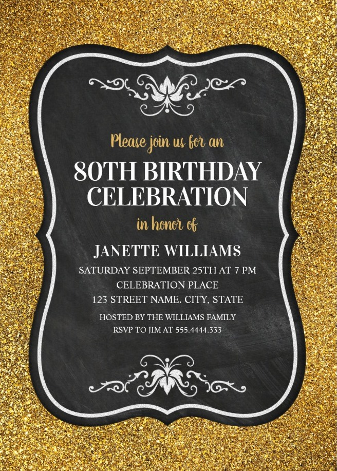 Glitter Adult 80th Birthday Party Invitations