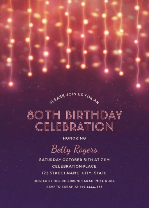 Glitter Lights 80th Birthday Party Invitations - Modern Fun Templates