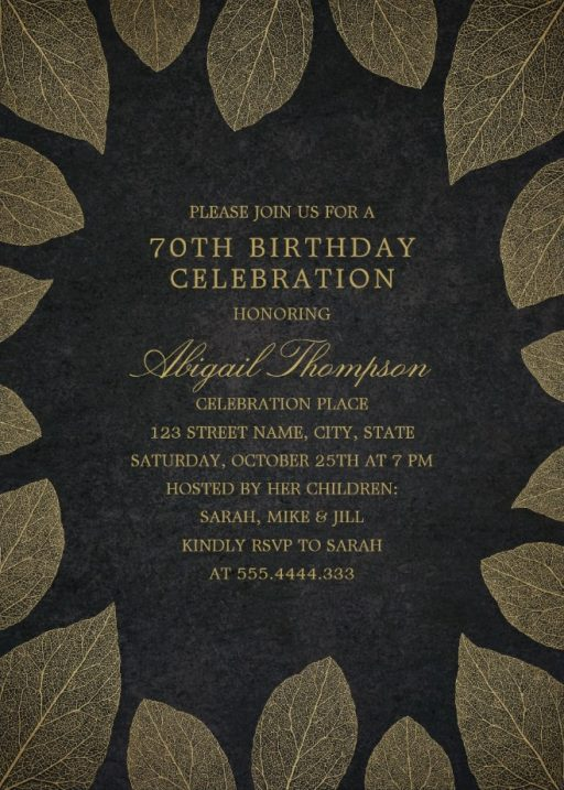 Gold Leaves 70th Birthday Invitations - Elegant Frame Templates