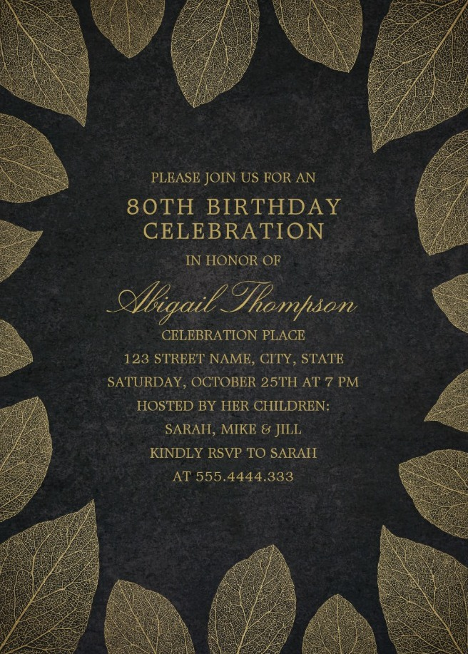Gold Leaves 80th Birthday Invitations - Elegant Frame Templates