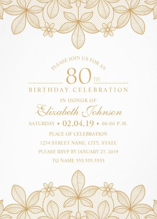 Golden Lace 80th Birthday Invitations - Elegant Luxury Invitation Templates