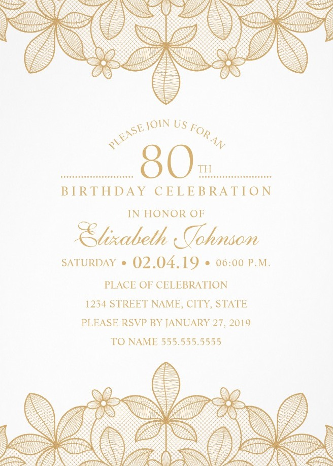 Golden Lace 80th Birthday Invitations