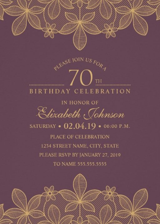 Golden Lace Wine Red 70th Birthday Invitations - Elegant Luxury Cards