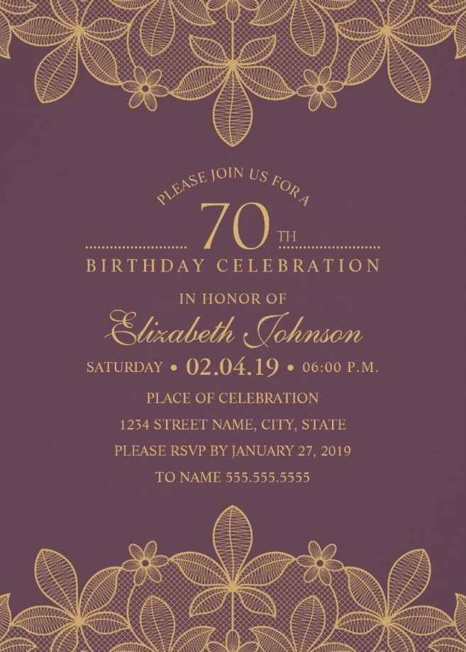 Golden Lace Wine Red 70th Birthday Invitations