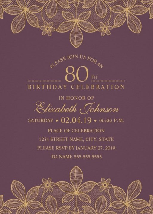 Golden Lace Wine Red 80th Birthday Invitations - Elegant Luxury Cards