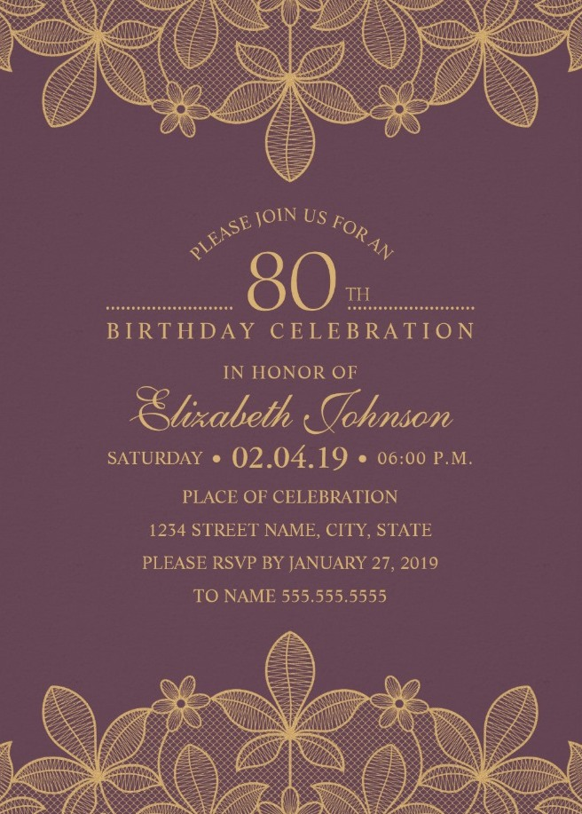 Golden Lace Wine Red 80th Birthday Invitations