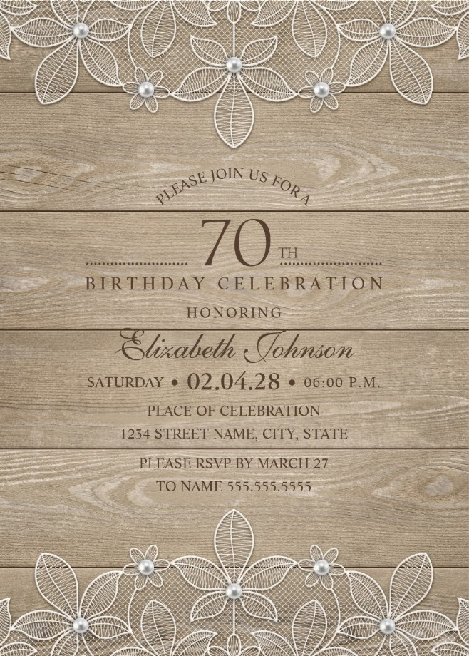 Lace And Pearls Country Wood 70th Birthday Invitations