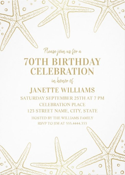 Nautical Adult 70th Birthday Invitations - Golden Starfish Invite Templates