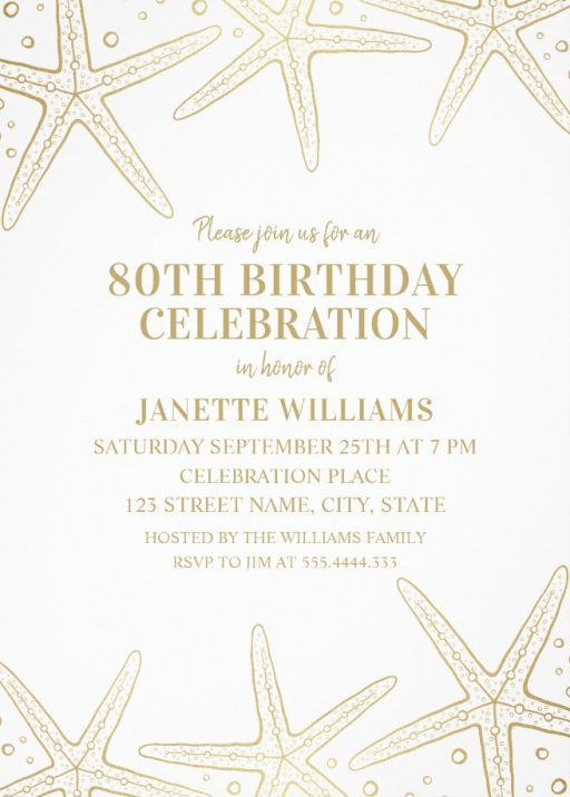 Nautical Adult 80th Birthday Invitations - Golden Starfish Invite Templates