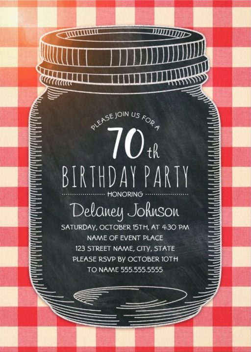Picnic 70th Birthday Invitations - Mason Jar Chalkboard Outdoor BBQ Invites