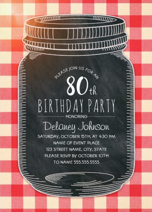 Picnic 80th Birthday Invitations - Mason Jar Chalkboard Outdoor BBQ Invites