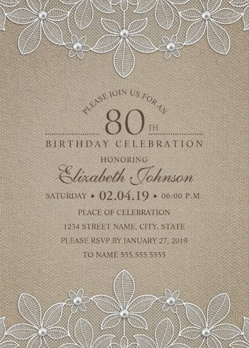 Rustic Burlap 80th Birthday Invitations - Lace and Pearls Party Cards