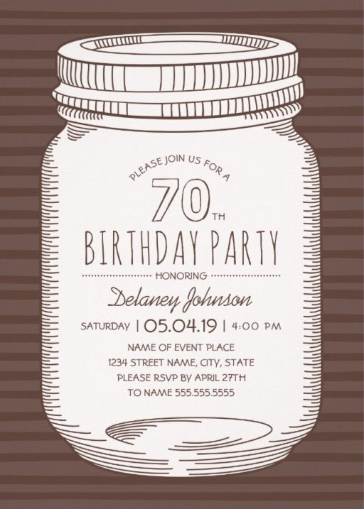 Rustic Mason Jar 70th Birthday Party Invitations – Vintage Country Cards