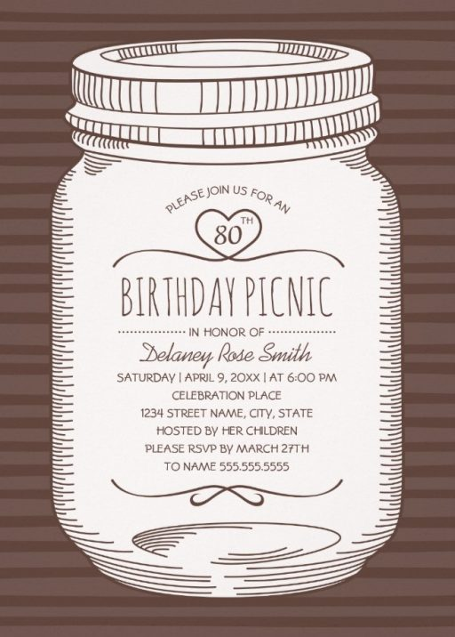 Rustic Mason Jar 80th Birthday Party Invitations Vintage Country Cards