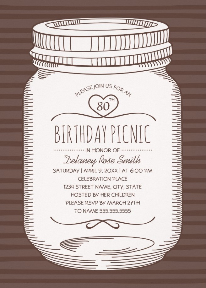 Rustic Mason Jar 80th Birthday Party Invitations – Vintage Country Cards