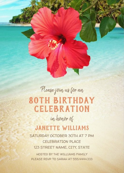 Tropical Beach Hawaiian Themed 80th Birthday Invitations - Hibiscus Party Invite