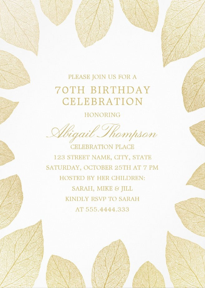 Unique Gold Leaves 70th Birthday Invitations