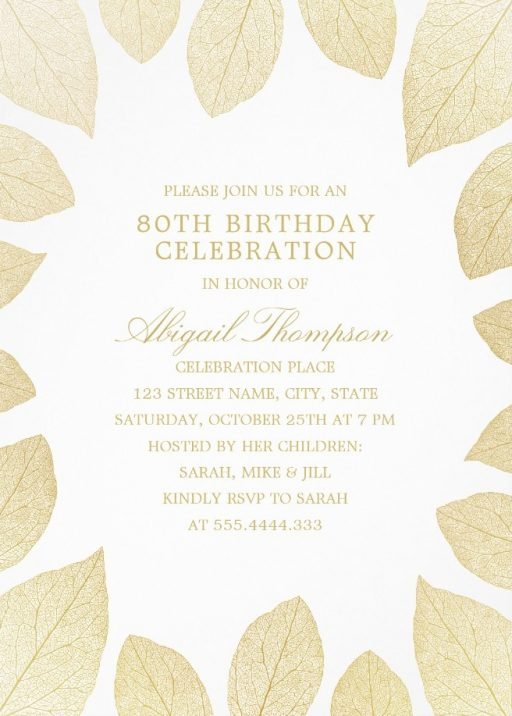 Unique Gold Leaves 80th Birthday Invitations - Elegant Frame Templates