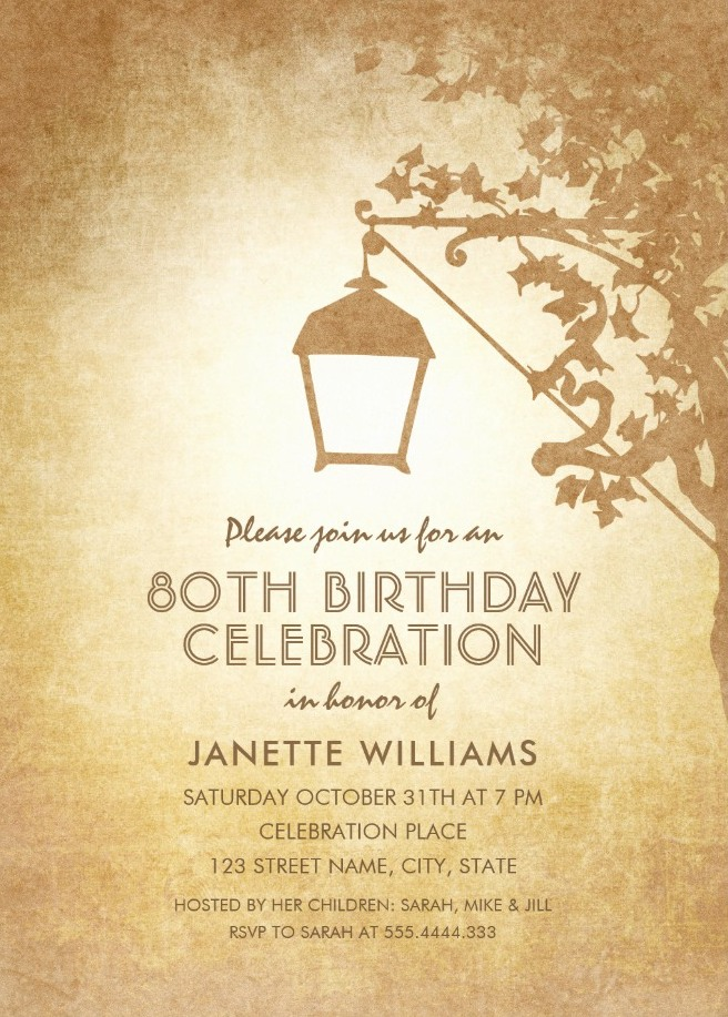 Vintage Garden 80th Birthday Invitations - Rustic Country Lamp Invites