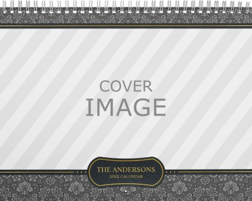 Custom Photo Calendar Template - Damask Pattern - Wide Photo